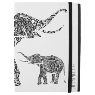 "Monogrammed Black & White Vintage Floral Elephant iPad Pro 12.9"" Case"
