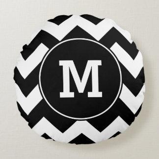 Monogrammed Black Zigzag Pattern Round Pillow