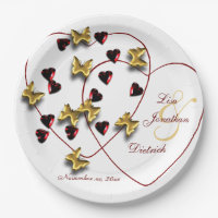 Monogrammed Blingy Hearts Butterflies Paper Plates