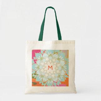 Monogrammed Blooming Lotus Flower Tote Bag