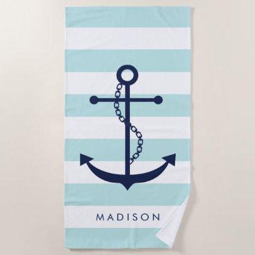 Beach Themed Monogrammed Blue Anchor on Light Blue Stripes Beach Towel