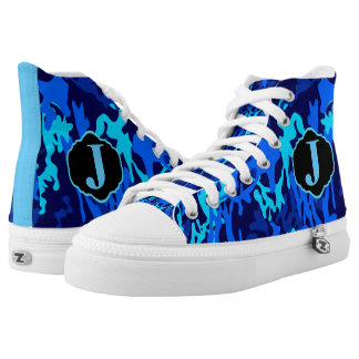 MONOGRAMMED BLUE AND BLACK CAMO HI TOP SNEAKERS PRINTED SHOES