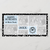Monogrammed Blue and Black Snowflake Holiday