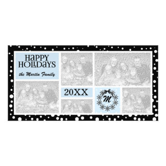 Monogrammed Blue and Black Snowflake Holiday Card