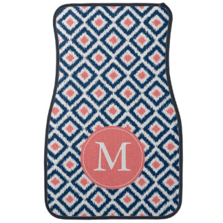 Monogrammed Blue and Coral Diamond Ikat Pattern Car Floor Mat
