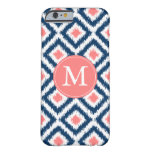 Monogrammed Blue and Coral Diamonds Ikat Pattern Barely There iPhone 6 Case