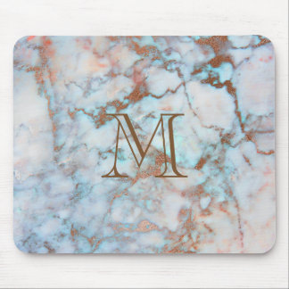 Monogrammed Blue And Gray Marble Stone Mouse Pad
