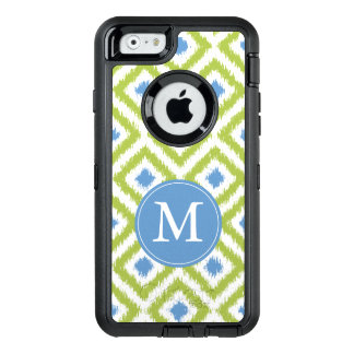 Monogrammed Blue and Green Ikat Pattern OtterBox Defender iPhone Case