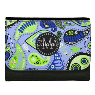 Monogrammed Blue and Green Paisley Wallet