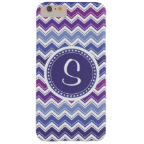 Monogrammed Blue and Purple Chevron Barely There iPhone 6 Plus Case