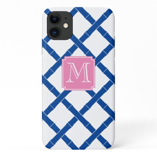 Monogrammed Blue And White Bamboo Trellis iPhone 11 Case