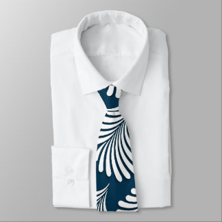 Monogrammed Blue and White Bold Leafy Print Tie