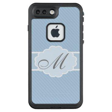 partridgelanestudio Monogrammed Blue and White Striped LifeProof FRĒ iPhone 7 Plus Case