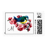 Monogrammed Blue Bird and Cherry Blossom Postage