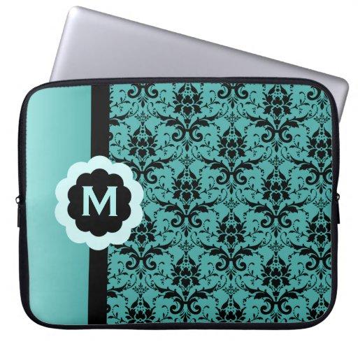 Monogrammed Blue Black Damask Laptop Sleeve