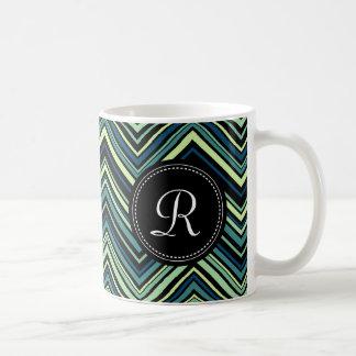 Monogrammed Blue Black Tribal Chevron Pattern Coffee Mug