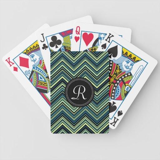 Monogrammed Blue Black Tribal Chevron Pattern Card Decks