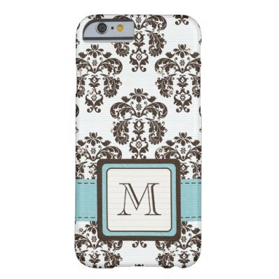 Monogrammed Blue Brown Damask Barely There iPhone 6 Case