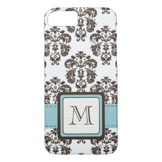 Monogrammed Blue Brown Damask iPhone 8/7 Case