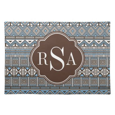 Aztec Themed Monogrammed Blue Brown Tribal Pattern Cloth Placemat
