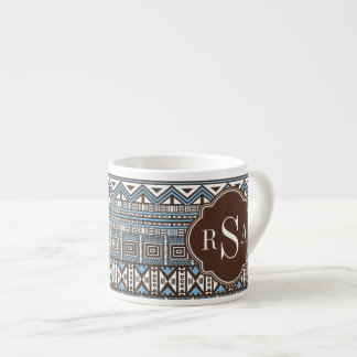 Monogrammed Blue Brown Tribal Pattern Espresso Cup