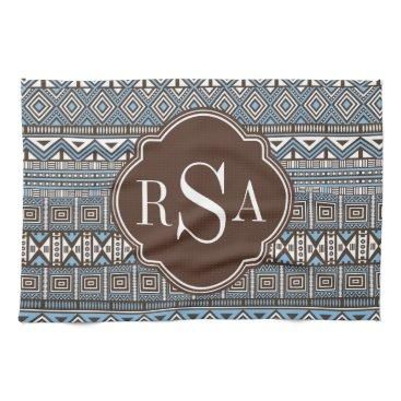 Aztec Themed Monogrammed Blue Brown Tribal Pattern Hand Towel
