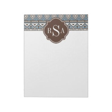 Aztec Themed Monogrammed Blue Brown Tribal Pattern Notepad