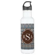 Monogrammed Blue Brown Tribal Pattern Water Bottle