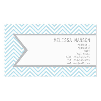 Monogrammed Blue Chevron Calling Card Business Cards