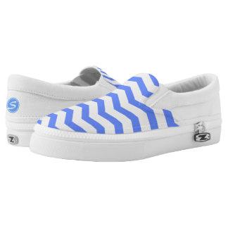 Monogrammed Blue Chevron Printed Shoes