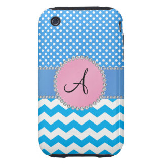 Monogrammed blue chevrons blue polka dots iPhone 3 tough cases