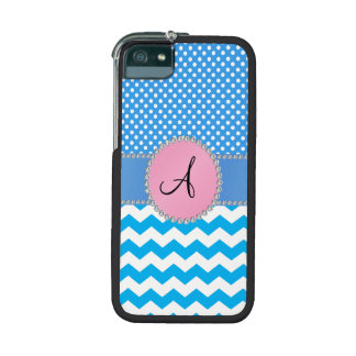 Monogrammed blue chevrons blue polka dots iPhone 5 cover