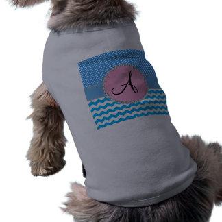 Monogrammed blue chevrons blue polka dots doggie t shirt