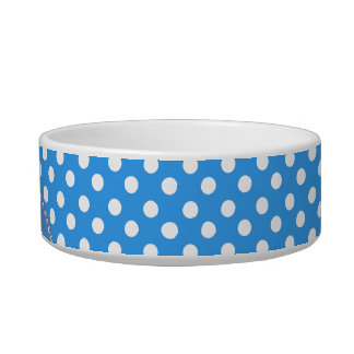 Monogrammed blue chevrons blue polka dots pet bowl
