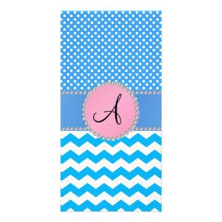 Monogrammed blue chevrons blue polka dots photo card