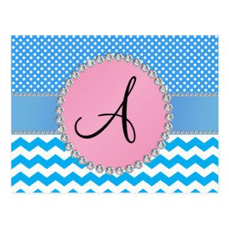 Monogrammed blue chevrons blue polka dots postcards