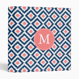 Monogrammed Blue Coral Diamond Ikat Pattern Binders