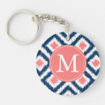 Monogrammed Blue Coral Diamond Ikat Pattern Single-Sided Round Acrylic Keychain