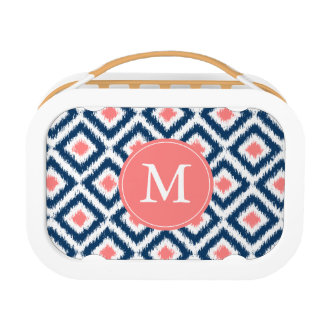Monogrammed Blue Coral Diamond Ikat Pattern Lunch Box