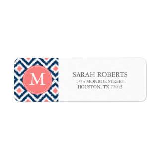 Monogrammed Blue Coral Diamonds Ikat Pattern Label