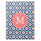 Monogrammed Blue Coral Diamonds Ikat Pattern Notebook
