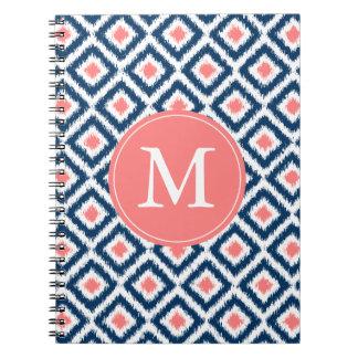 Monogrammed Blue Coral Diamonds Ikat Pattern Notebook