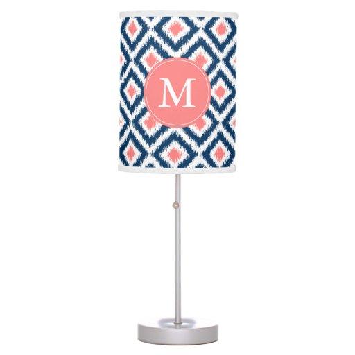 Monogrammed Blue Coral Diamonds Ikat Pattern Table Lamp