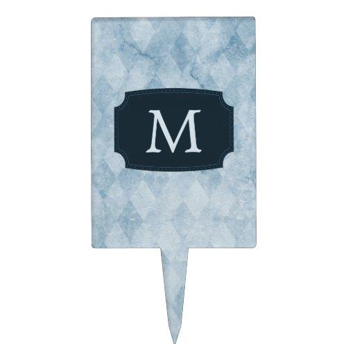Monogrammed Blue Diamond Wallpaper Cake Toppers