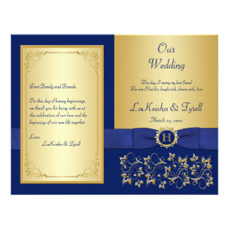 Monogrammed Blue, Gold Floral Wedding Program