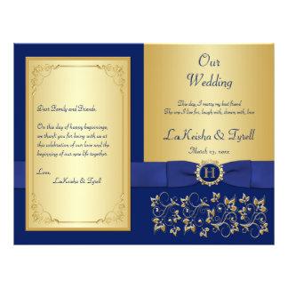 Monogrammed Blue, Gold Floral Wedding Program