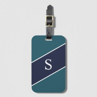 Monogrammed Blue Green and Navy Geometric Stripe Bag Tag