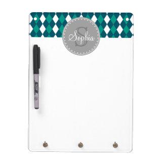 Monogrammed Blue Green Diamdons Pattern Dry-Erase Whiteboards