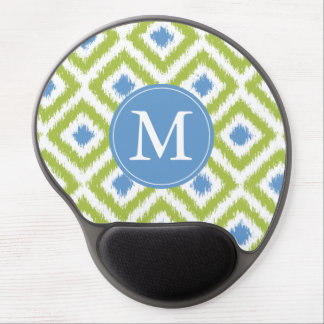 Monogrammed Blue Green Diamond Ikat Pattern Gel Mouse Pad