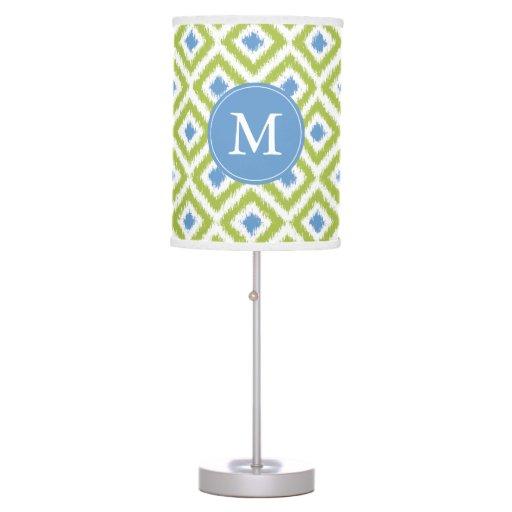 Monogrammed Blue Green Diamonds Ikat Pattern Table Lamp